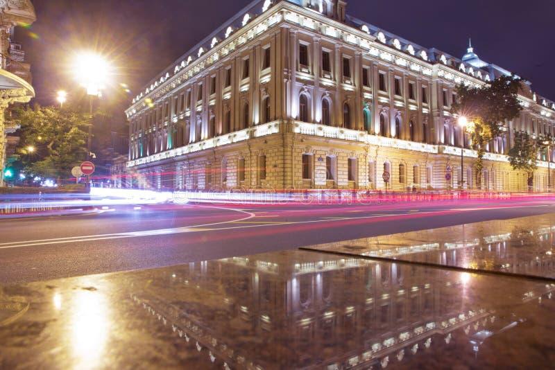 Heldere Baku nachten Panorama van Baku Nachtroutes in Baku Stadsmening van de hoofdstad van Azerbeidzjan, in Azerbeidzjan royalty-vrije stock foto's