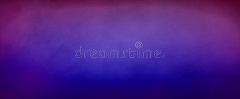 Heldere blauwe achtergrond met donkere hoogste purpere grens en vage textuur in gradiëntontwerp stock illustratie
