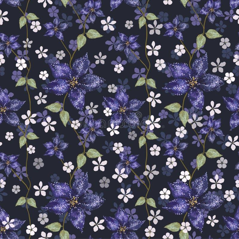 Heldere blauwe amaryllis en kleine witte bloemen met bladeren op marineblauwe achtergrond vector illustratie