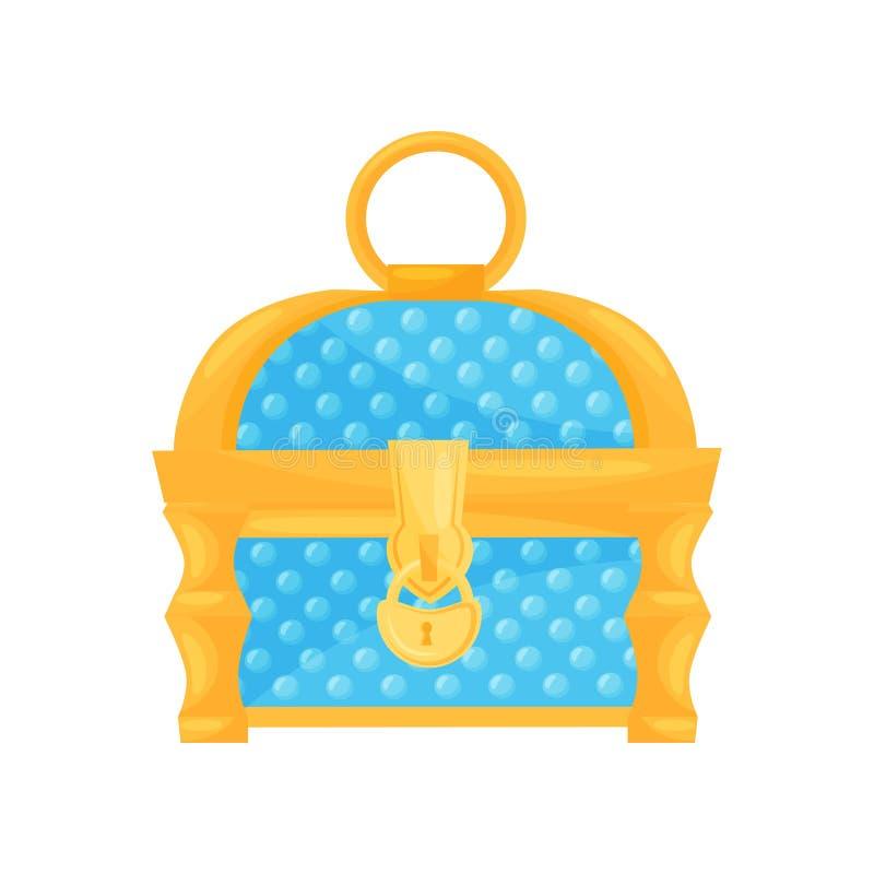 Heldere blauwe borst met gouden slot en handvat Kleine kist voor juwelen Vlakke vector voor kinderenboek of mobiel spel stock illustratie