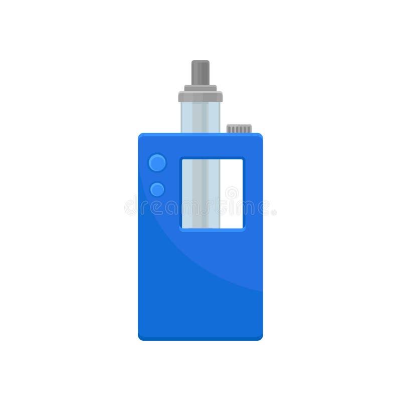 Heldere blauwe verstuiver met kleine knopen en glastank Modern rokend apparaat Materiaal om vaping Vlak vectorpictogram stock illustratie