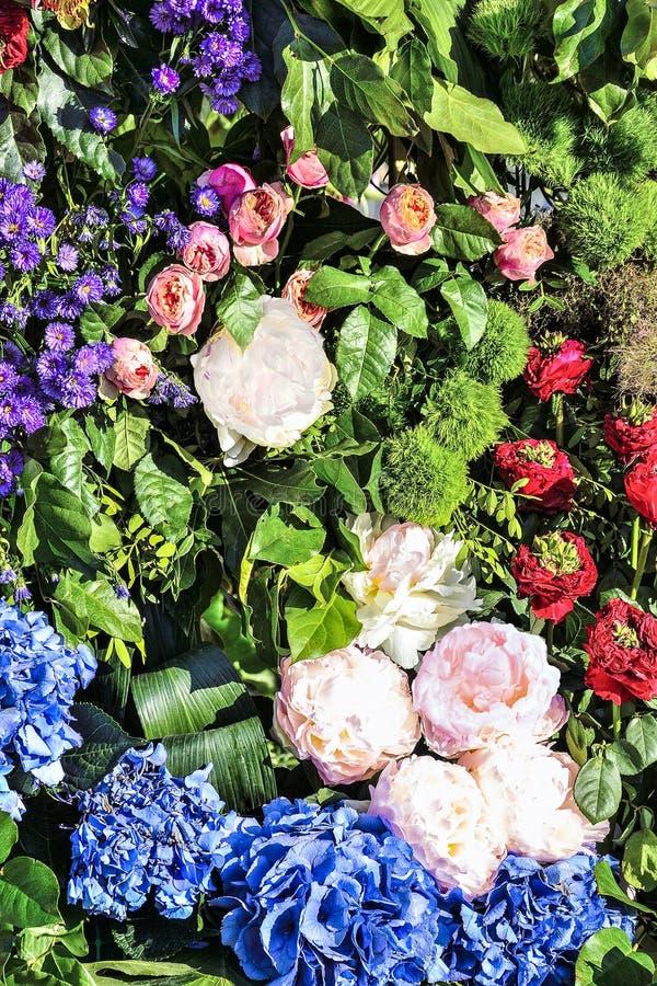 Heldere blije feestelijke veelkleurige bloemenachtergrond van verschillende bloemen royalty-vrije stock afbeelding
