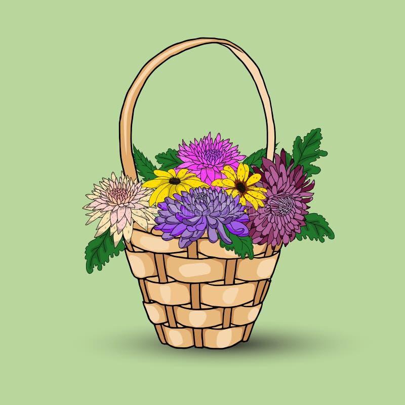 Heldere bloemen in een mand met een schaduw op een groene achtergrond vector illustratie