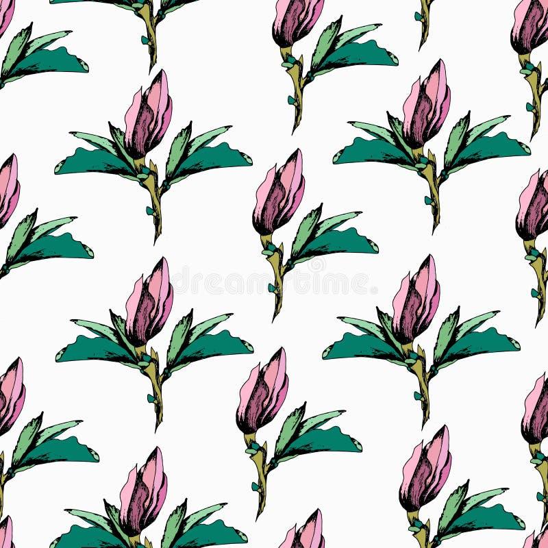 Heldere bloemenachtergrond met purpere bloemenvector Eindeloze textuur voor uw ontwerp, tegel en stof royalty-vrije illustratie