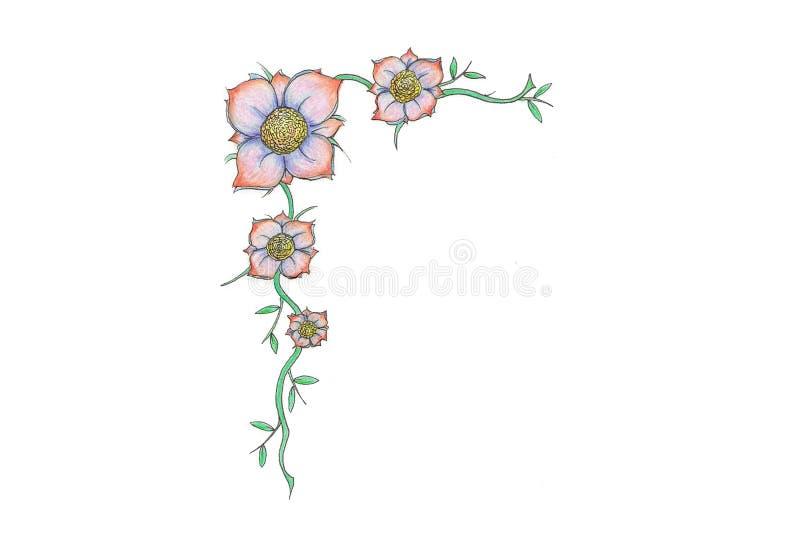 Heldere bloemgrens stock foto