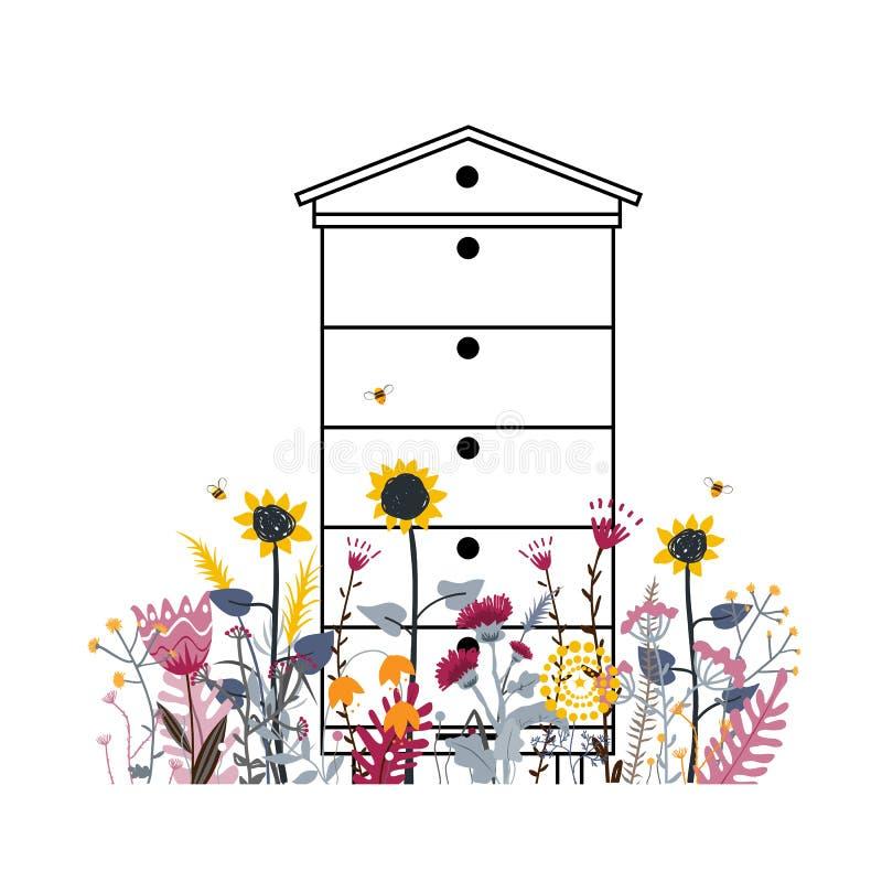 Heldere bloemweide met bijenkorf in de zomer De kleur van het mengelingsverschil van landelijke bloem Heel wat diverse mooie bloe royalty-vrije illustratie