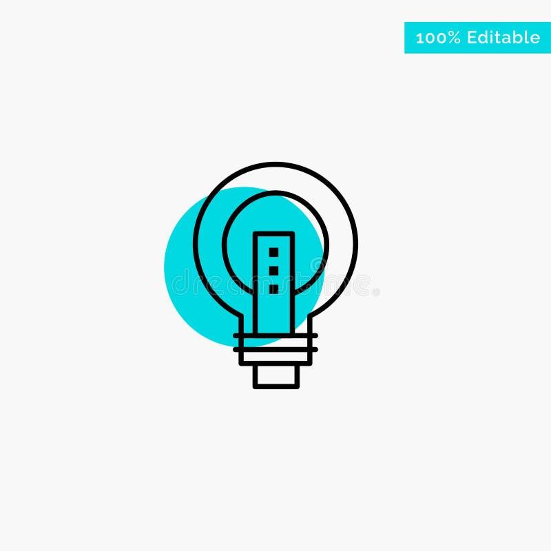 Heldere bol, Zaken, Idee, Lichte, gloeilamp, van het de cirkelpunt van het Machts het turkooise hoogtepunt Vectorpictogram stock illustratie