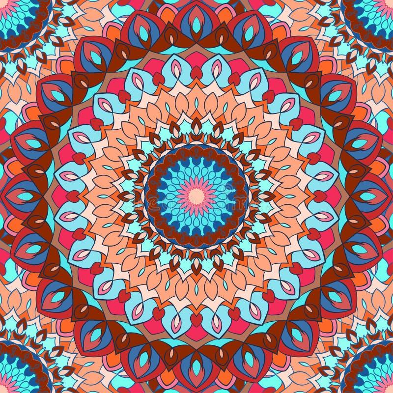 Heldere bont hand-tekening sier bloemen abstracte naadloze achtergrond met vele details voor ontwerp van zijdehalsdoek vector illustratie