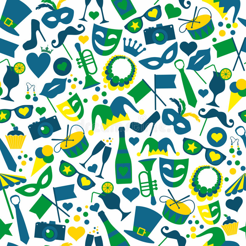 Heldere Carnaval-pictogrammen Naadloos patroon royalty-vrije illustratie