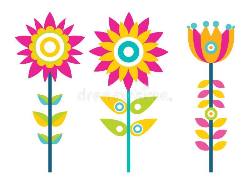 Heldere Creatieve Bloemen met Kleurrijke Geplaatste Bloemblaadjes stock illustratie
