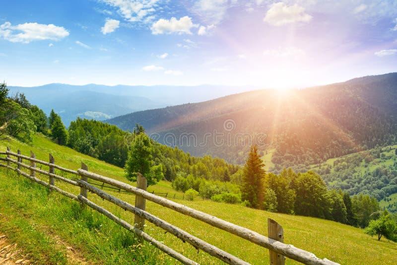 Heldere dageraad in bergen Weergeven van schilderachtige weide royalty-vrije stock afbeeldingen