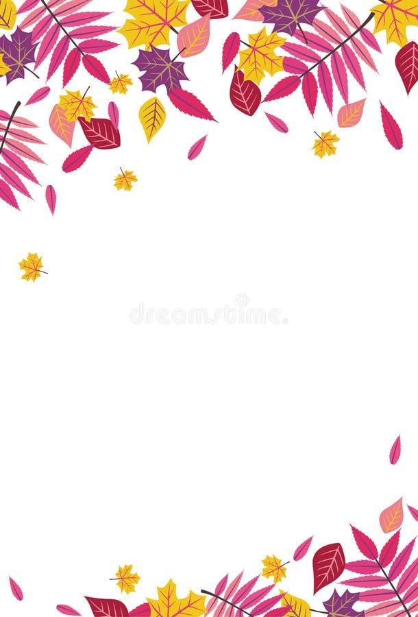 Heldere Daling Autumn Sumac Leaves Vertical Background 1 vector illustratie