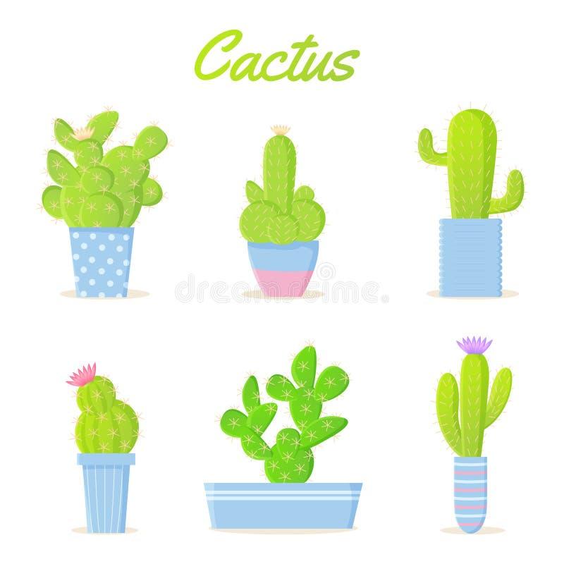 Heldere de cactusreeks van de beeldverhaalzomer Exotische houseplants in kleurenpotten stock illustratie
