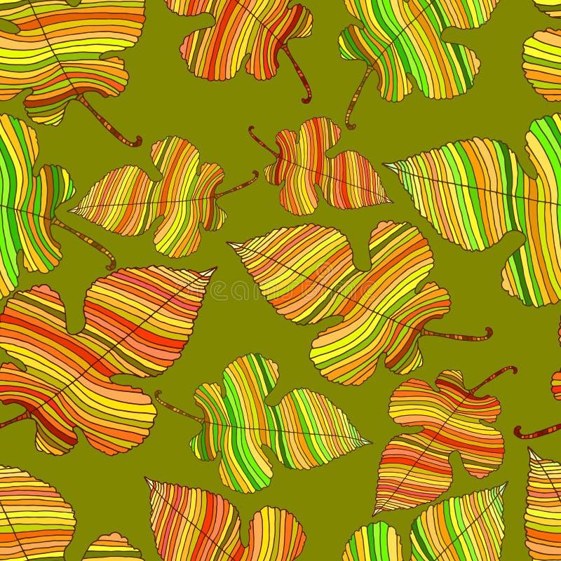 Heldere, de herfstbladeren, naadloos vergankelijk die patroon, op a wordt geïsoleerd vector illustratie