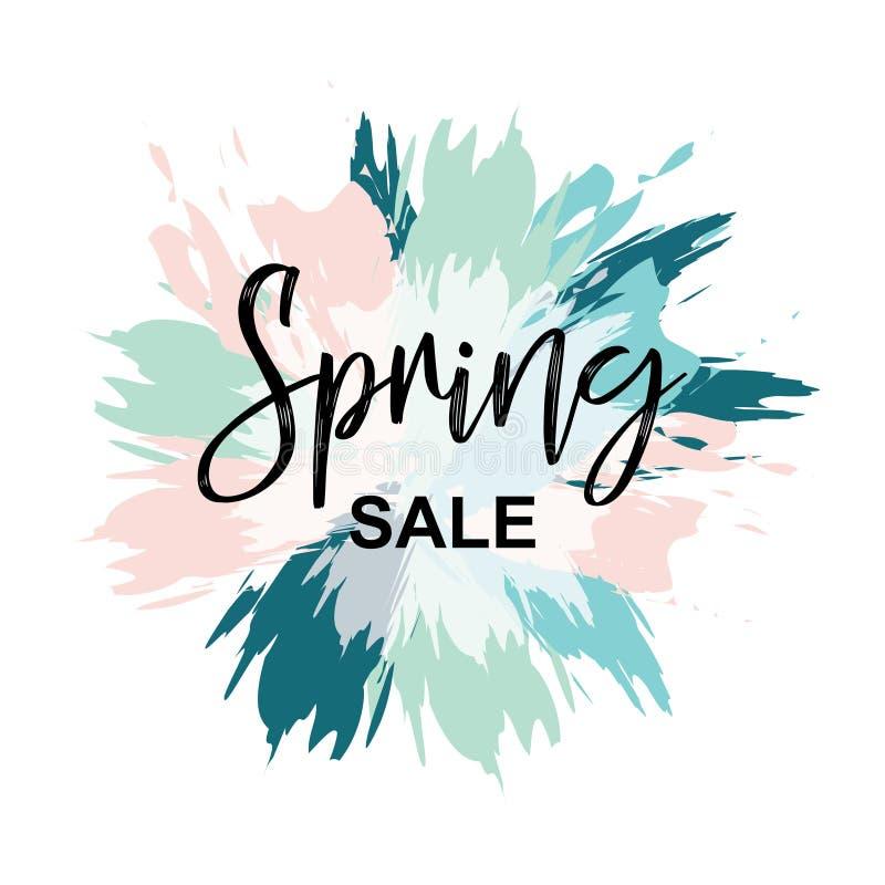 Heldere de lentebanner van borstels in de vorm van een abstracte bloem in verse pastelkleuren Het vectorhand van letters voorzien royalty-vrije illustratie