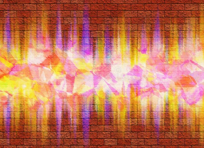 Heldere die graffiti op bakstenen muur wordt geverft vector illustratie