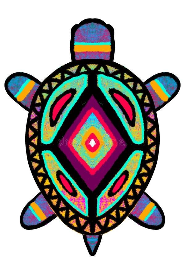 Heldere die multi-colored schildpad, een schildpad in Afrikaanse stijlillustratie wordt geschilderd royalty-vrije illustratie