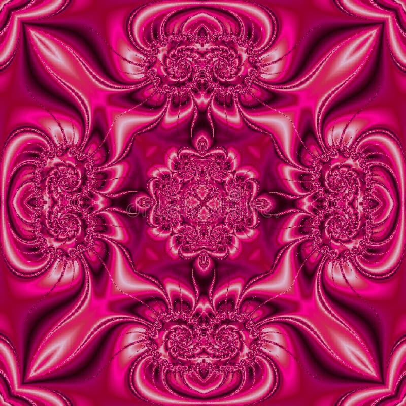 Heldere donkere roze vierkante geometrische mandala met zijdeeffect vector illustratie