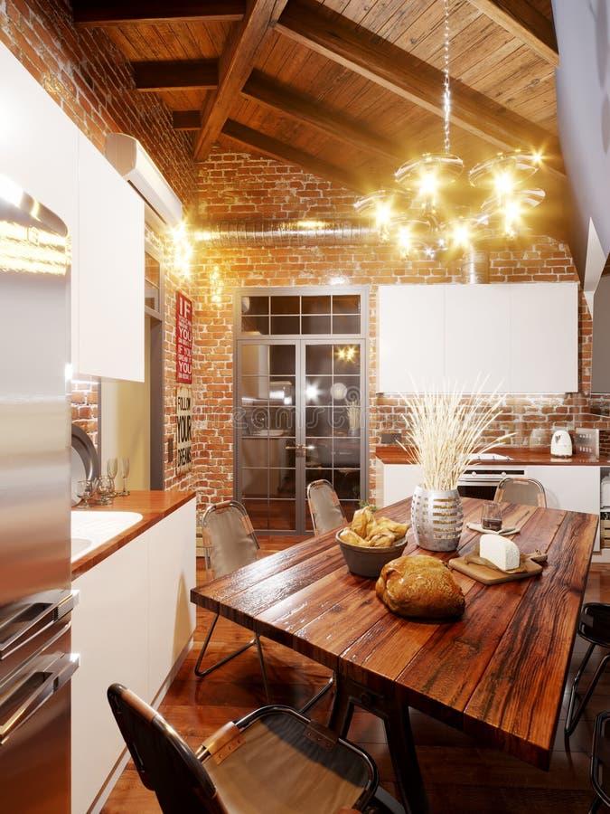 Heldere en comfortabele keuken in de zolderstijl op zolder vector illustratie