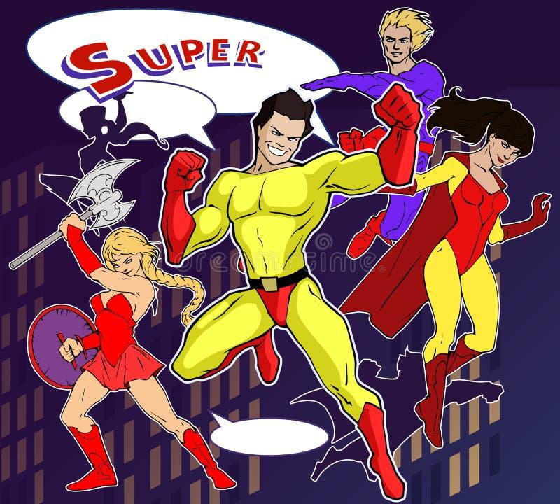 Heldere en kleurrijke beeldverhaalreeks van grappig en ontzagwekkend team van het verbazen van super helden vector illustratie