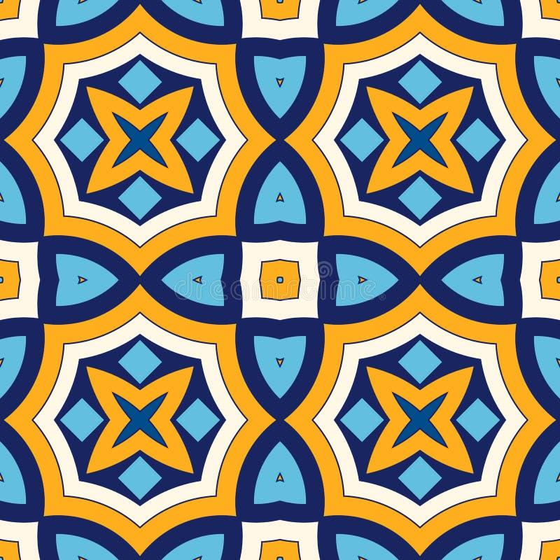 Heldere etnische abstracte achtergrond Naadloos patroon met symmetrisch geometrisch ornament royalty-vrije illustratie