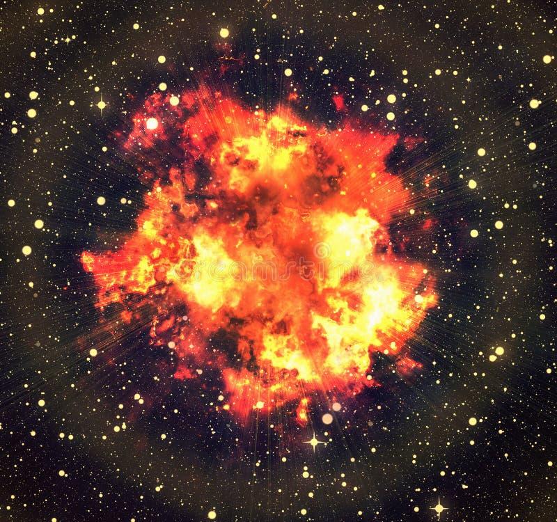 Heldere explosieflits op ruimteachtergronden branduitbarsting royalty-vrije illustratie