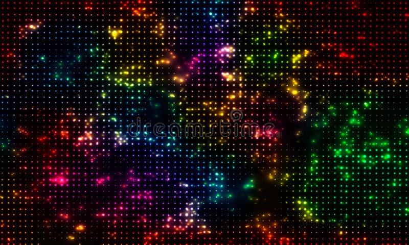Heldere gekleurde fonkeling op een zwarte achtergrond Effect halftone Vectorachtergrond stock illustratie