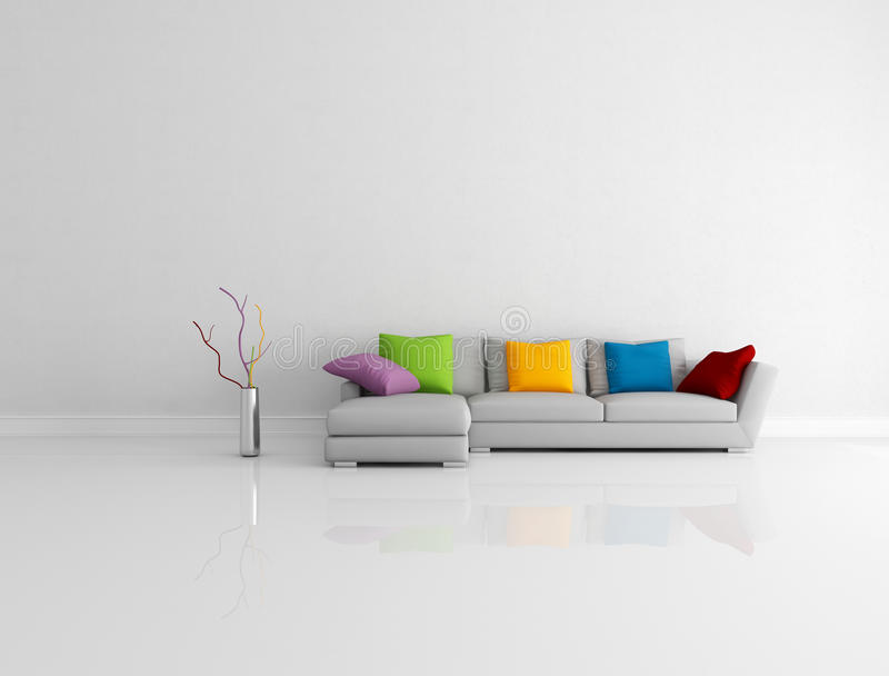 Heldere gekleurde minimalistische woonkamer stock illustratie