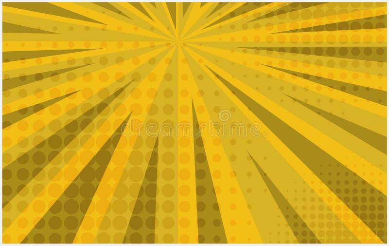 Heldere gele gestreepte retro grappige achtergrond stock illustratie