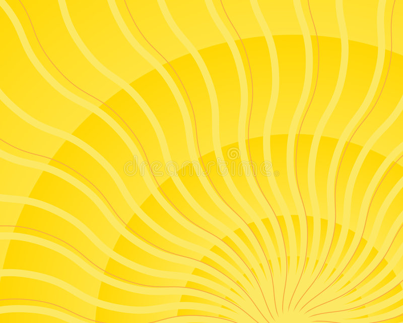 Heldere gele golvende lichte de uitbarstingsvector van de zonstraal royalty-vrije illustratie