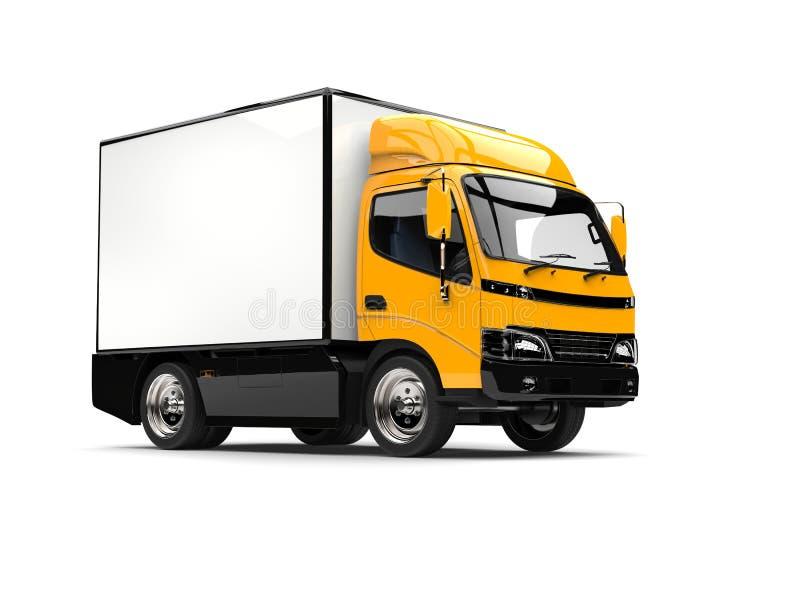 Heldere gele kleine doosvrachtwagen vector illustratie