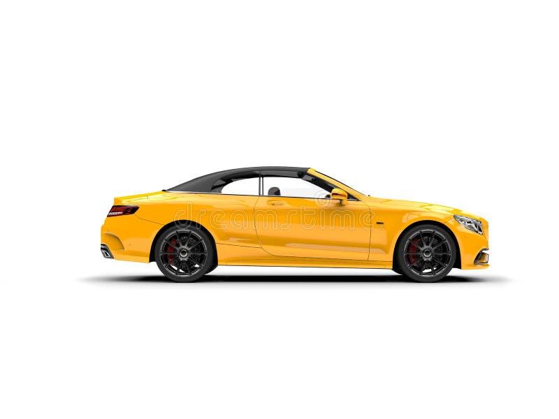 Heldere gele moderne luxe convertibele auto - zijaanzicht stock illustratie