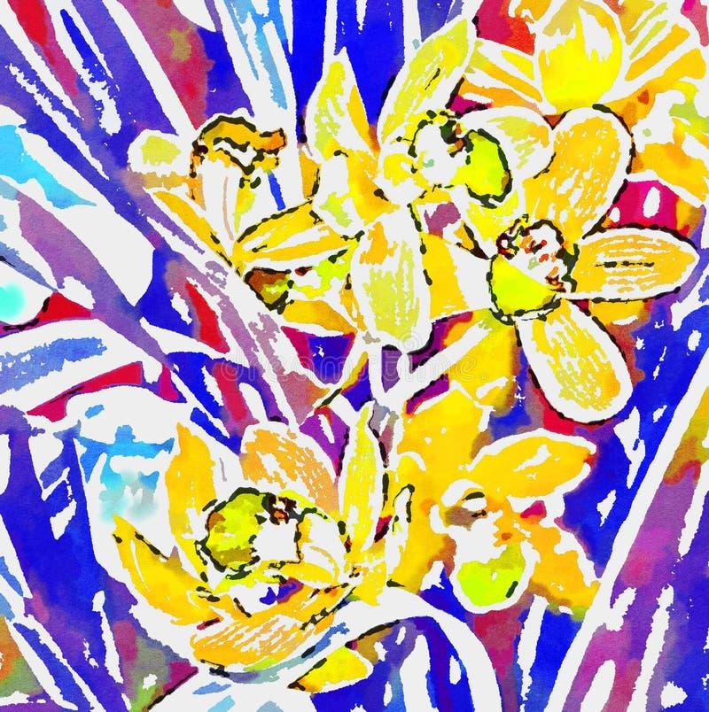 Heldere gele orchideeën op een achtergrond van blauwe en rode bladeren vector illustratie