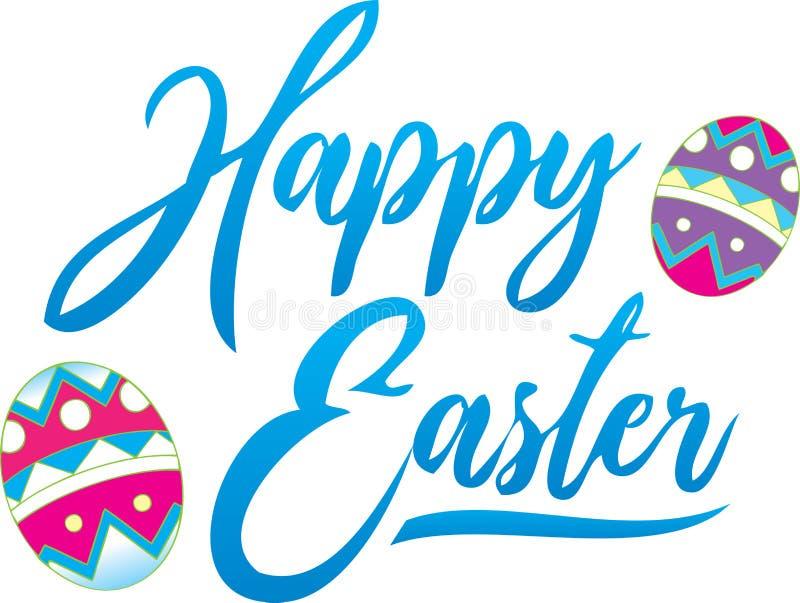 Heldere Gelukkige Pasen-Groet met verfraaide eieren stock illustratie