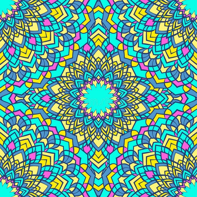 Heldere gemengde het schitteren hand-trekkende sier bloemen abstracte naadloze achtergrond met vele details voor ontwerp vector illustratie