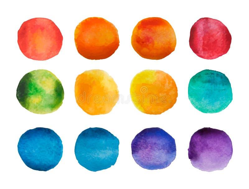 Heldere geplaatste waterverfcirkels De inzameling van regenboog watercolour vlekken Vector illustratie royalty-vrije illustratie