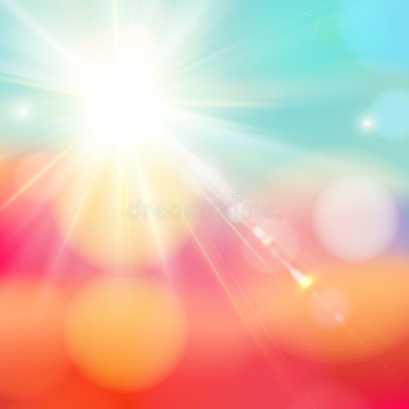 Heldere glanzende zon met lensgloed. stock illustratie