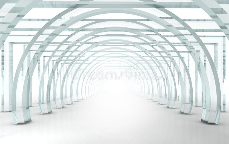 Heldere glasgang of tunnel in perspectief royalty-vrije illustratie