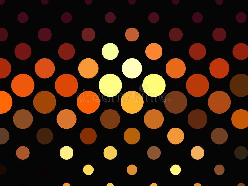 Heldere gloeiende cirkels op donkere achtergrond Halftone effect Abstract Geometrisch patroon Scalable vectorgrafiek royalty-vrije illustratie