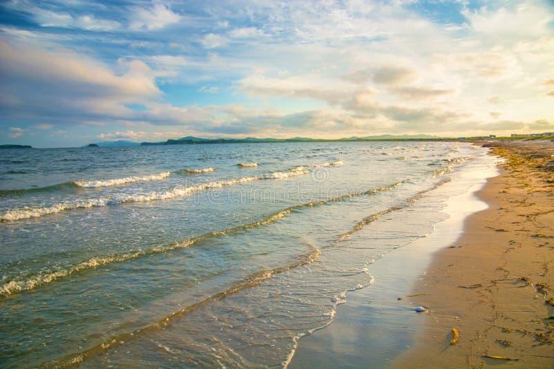 Heldere gouden zonsondergang op het strand, de golven op het zand, shells royalty-vrije stock afbeelding