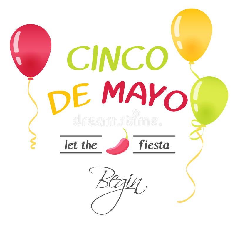 Heldere groetkaart met hand het getrokken van letters voorzien voor Cinco DE Mayo in minimalistische stijl Vectorillustratie voor royalty-vrije illustratie