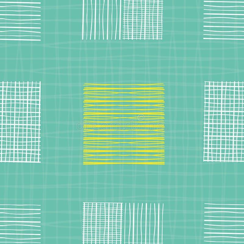 Heldere hand getrokken individuele krabbelvierkanten van verschillende vormen Geometrisch naadloos patroon op turkoois geweven ne stock illustratie