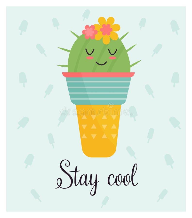 Heldere kaart met leuke het glimlachen cactus en citaat royalty-vrije illustratie