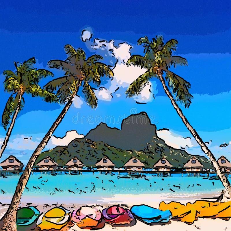 Heldere kano's tussen palmen en de berg Otemanu Bora-Bora tahiti royalty-vrije illustratie