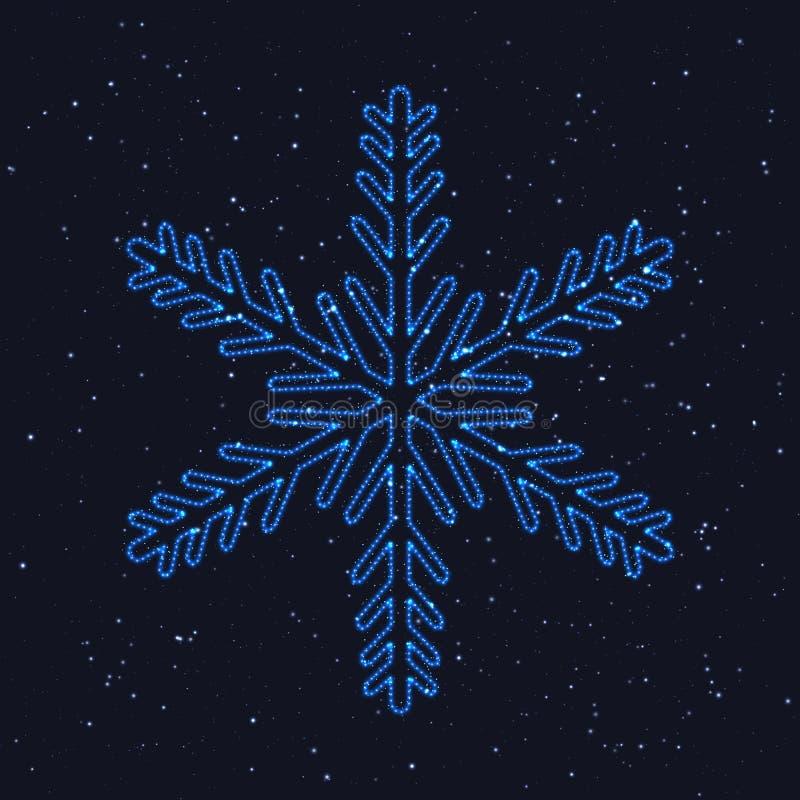 Heldere Kerstmis Gloeiende Blauwe Sneeuwvlok stock illustratie