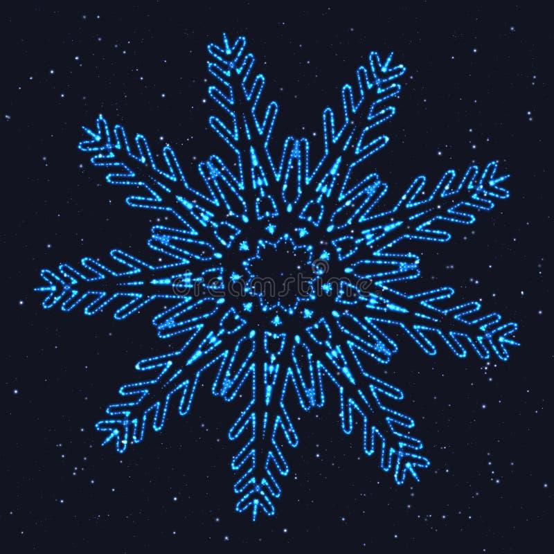Heldere Kerstmis Gloeiende Blauwe Sneeuwvlok royalty-vrije illustratie