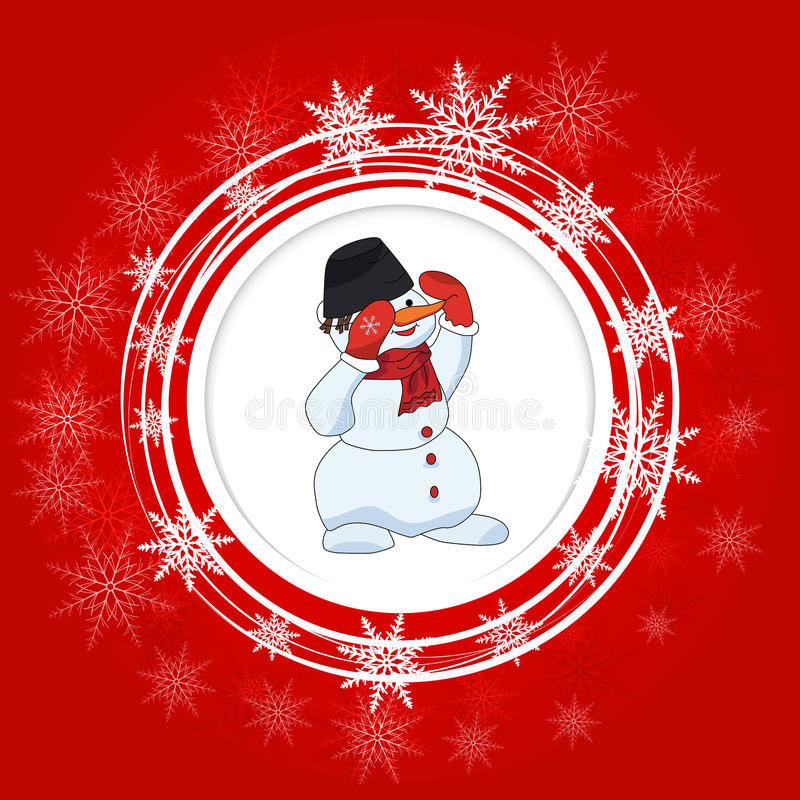 Heldere Kerstmisachtergrond Sneeuwman Witte cirkels en sneeuwvlokken royalty-vrije illustratie