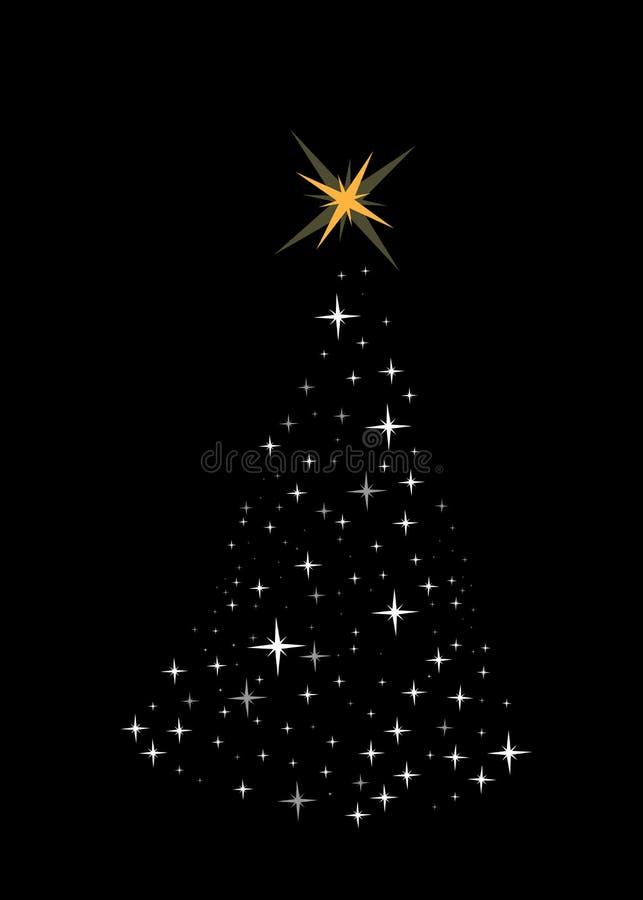Heldere Kerstmisboom die van sterren wordt gemaakt vector illustratie