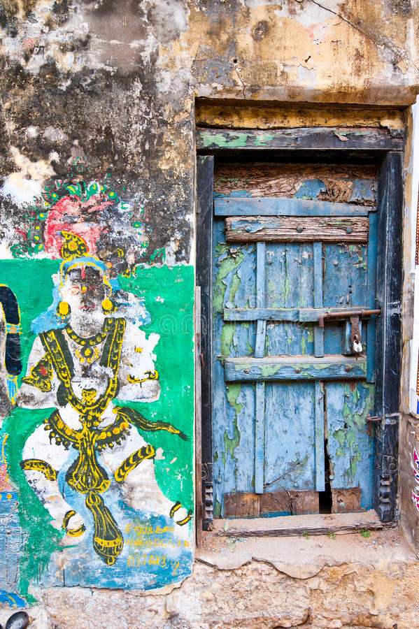 Heldere kleuren van het Indische straatleven Zuid-India, Tamil Nadu royalty-vrije stock fotografie