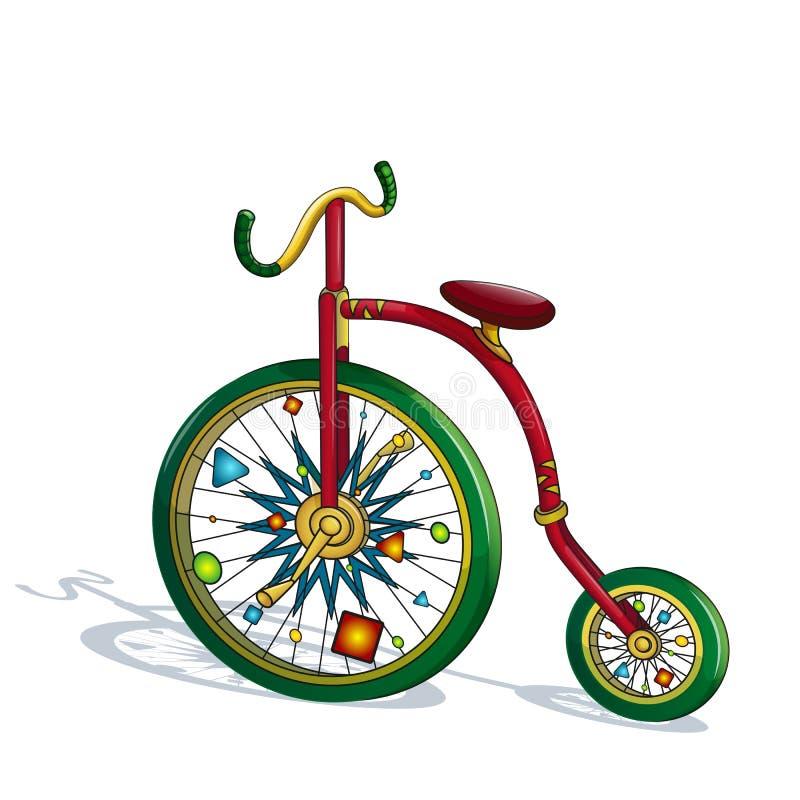Heldere, kleurrijke circusfiets met grappige decoratie op wielen Circusvoorwerp in de stijl van een beeldverhaal royalty-vrije stock fotografie